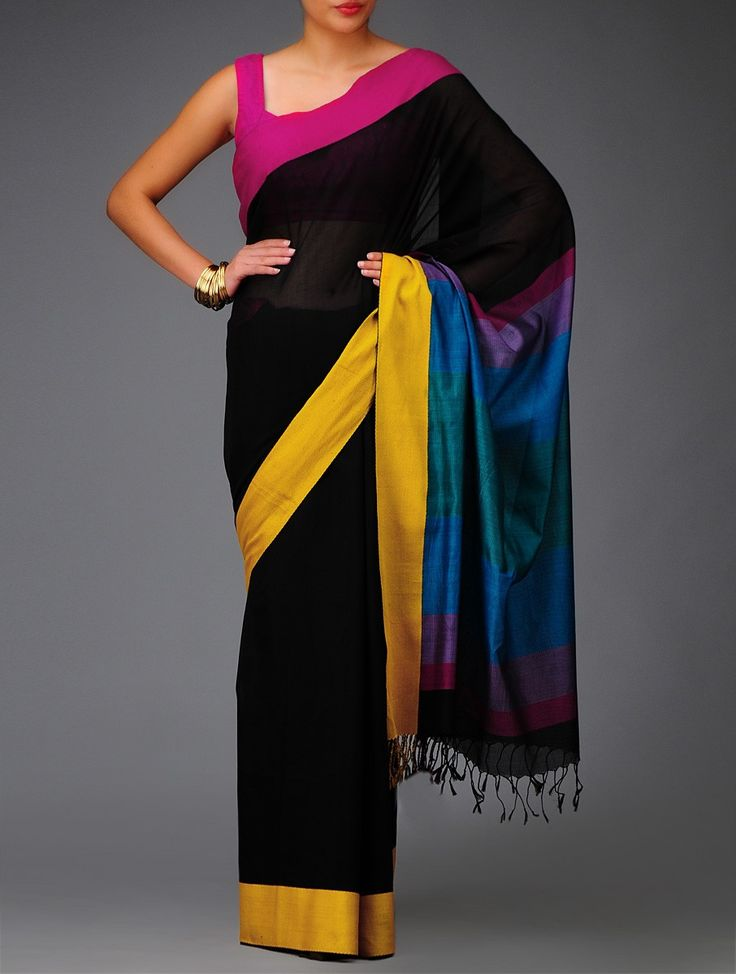 Buy Black Pink Yellow Maheshwari Cotton Silk Saree Sarees Woven Online at Jaypore.com