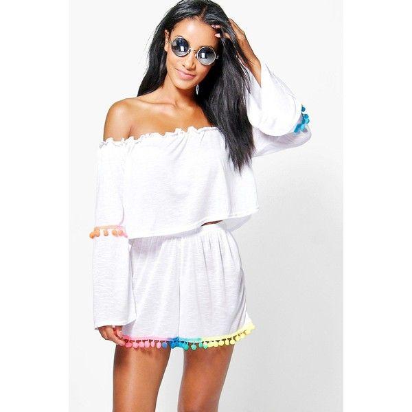 Boohoo Eva Multi Coloured Pom Pom Bardot Beach Co-Ord ($30) ❤ liked on Polyvore featuring swimwear, bikinis, white, triangle swimwear, white bikini swimwear, beach kimono, two piece bikini and white high waisted bikini