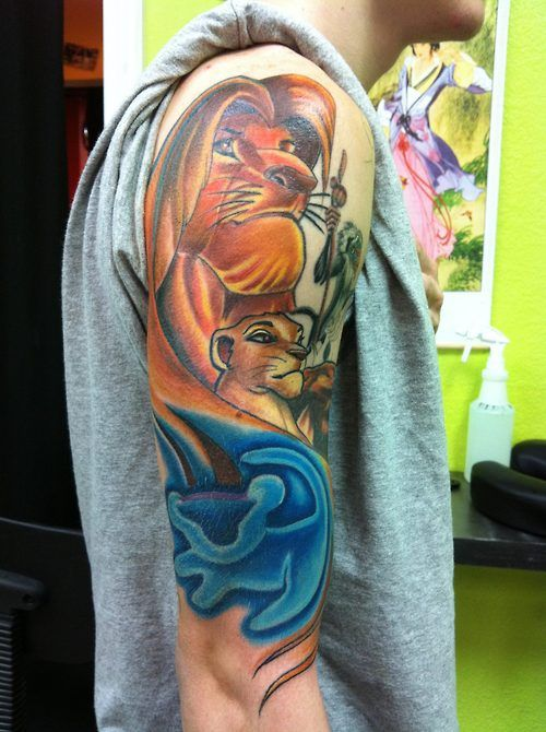Lion king tattoo, awesome but little too cartoony for me