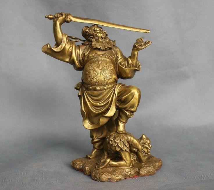 10'' China Mythology The Exorcist Zhong Kui Slaughter Devil Bronze Statue