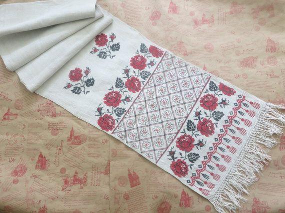 Украинский Вышиванка, ручной вышивкой, античная Конопля Текстильная, Handwoven Зерно Sack, старый античный, ручная работа полотенце, античный вышивка,