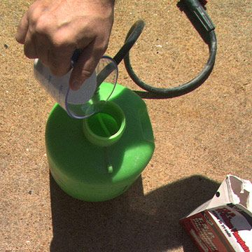 Start by removing any mildew using a solution of one part bleach to four parts water mixed with a little detergent or trisodium phosphate (TSP) in a pump-up sprayer. Allow the bleach to remain on for 10-20 minutes then rinse off. Because bleach can damage plants, wet down and/or cover any shrubs or other plants in the area being sprayed.