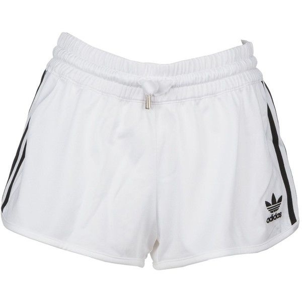Adidas Originals 3 Stripes Shorts (115 ILS) ❤ liked on Polyvore featuring shorts, white, striped shorts, white shorts, adidas originals, stripe shorts and adidas original shorts