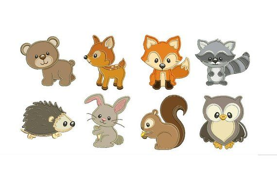 Woodland baby animals applique embroidery set fill design machine