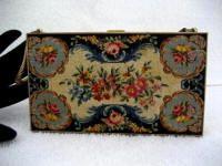 Vintage Carryall Compact Purse Romance Petit Point Theme