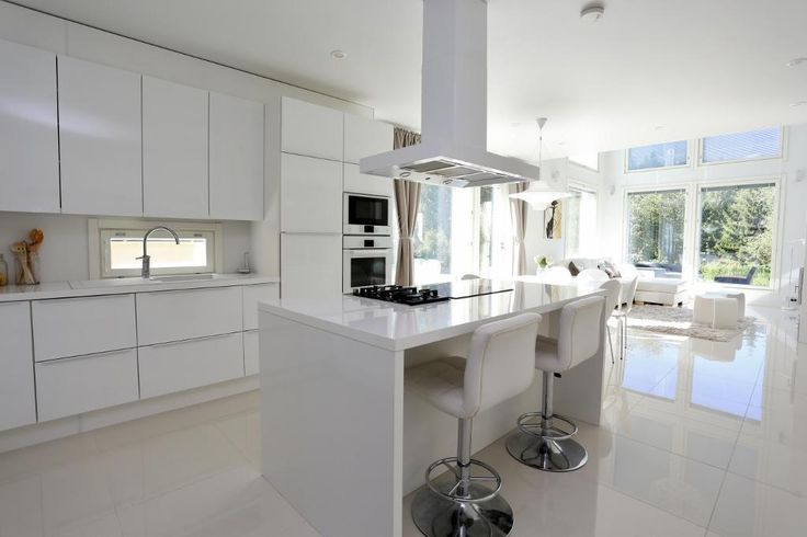 Keittiö, valkoinen, olohuonen, sisustus, saareke, ikkunat