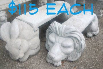 Lion Or Rabbit Bench Solid Concrete For Sale In