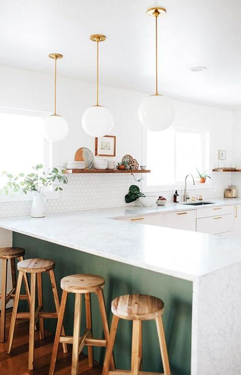 modern kitchen with schoolhouse electric pendant lamps