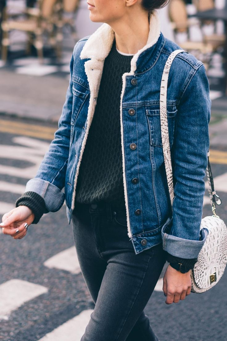 Faux Shearling Lined Jean Jacket | Prosecco & Plaid