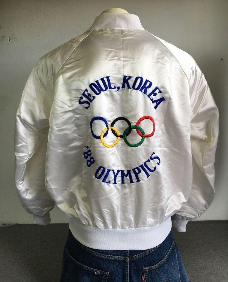 1988 OLYMPICS Jacket SEOUL KOREA White Satin Embroidered Fantastic! Medium #unkown #Satin