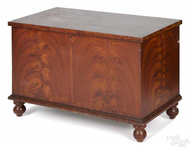 Pennsylvania painted poplar blanket chest, ca. 1840, retaining its original red grain decoration - Price Estimate: $400 - $700