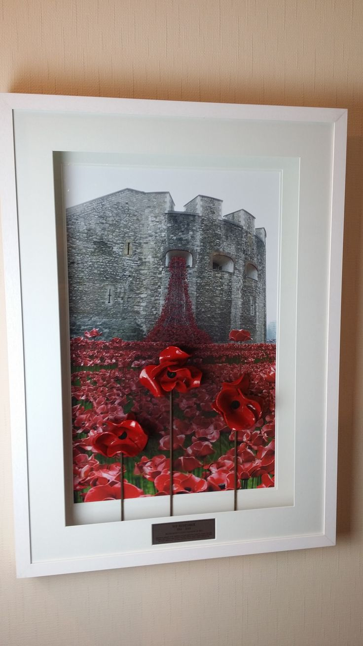 Bespoke ceramic poppy framing at Framemaker! This customer has opted for not one or two but THREE poppies for their display!