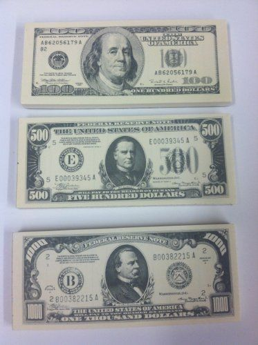 Toy Money 100 : Paper play money dollars bills  mini note pad