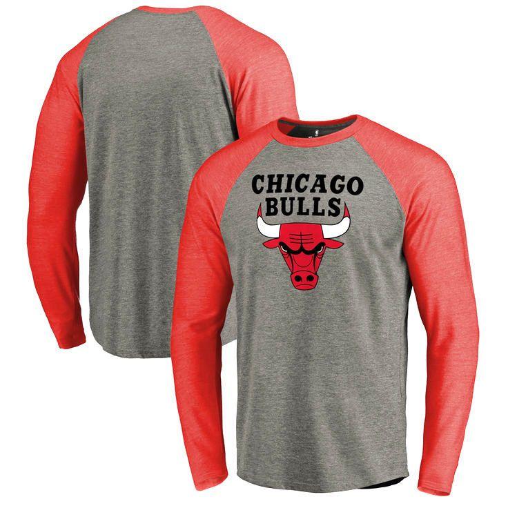 Chicago Bulls Team Essential Raglan Long Sleeve T-Shirt - Heather Gray - $39.99