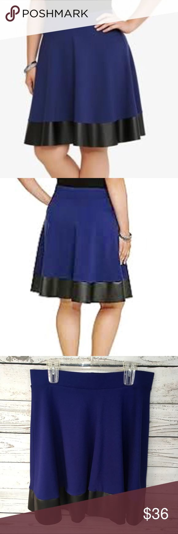 """NWT! Torrid blue & black faux leather skater skirt •Details• Torrid pointe blue stretch skater skirt with black faux leather trim. •Condition• New with tags. (Price tag missing) •Material• 70% rayon 26% nylon 5% spandex •Color• Blue with black faux leather trim All measurements taken while item is laying flat & are approximate •Waist• 17.5"""" stretching to 20"""" •Length• 22"""" Torrid Skirts Circle & Skater"""