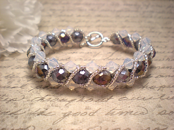 The Stella- Amethyst and Air Opal Swarovski Crystal Braided Bracelet with Silver Seed Bead Twisting Overlay