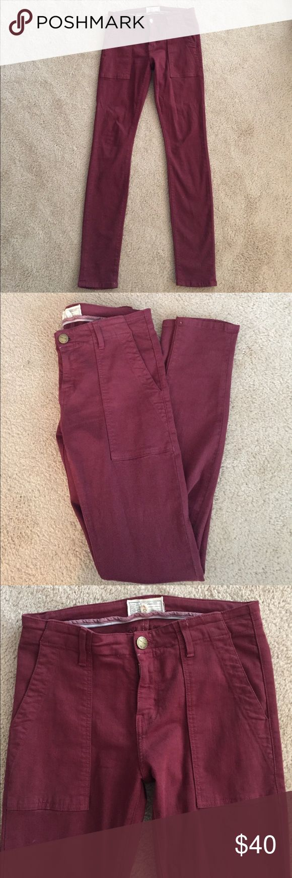 """Current/Elliott dark red skinny jeans! These practically new burgundy skinny jeans are super flattering! Current/Elliott, they are size 30, 42"""" long so great for tall girls! They were only worn twice. Great staple piece! Current/Elliott Jeans Skinny"""