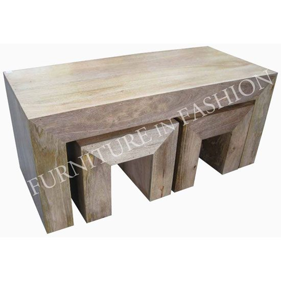 Coffee Table With Stools Coffee Table With 2 Stools In Light Finish