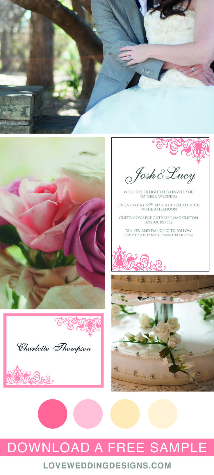 free templates for wedding response cards%0A Elegant and Romantic wedding templates  great for a pink wedding  Printable  wedding invitation