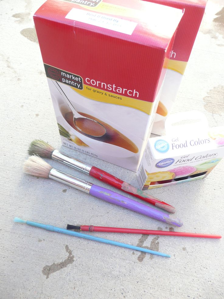 cornstarch painting. cheap, easy, messy fun!