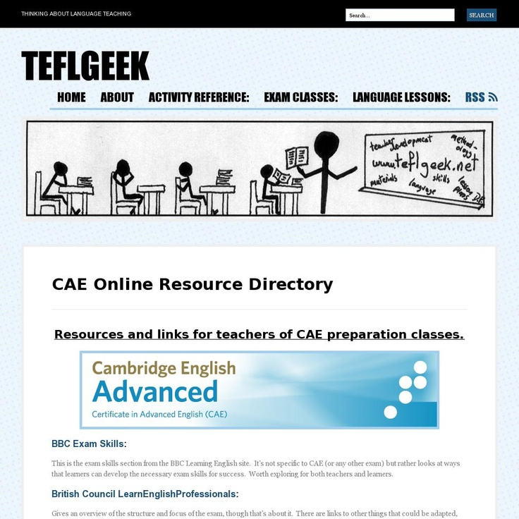 The website 'http://teflgeek.net/exam-classes/cae-online-resource-directory/' courtesy of Pinstamatic (http://pinstamatic.com)