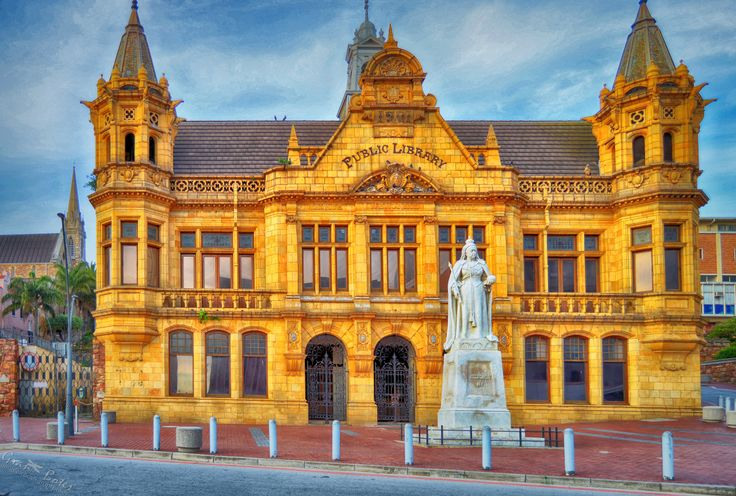 The Main Public Library, quite possibly the most beautiful building in Port Elizabeth. Building started around 1835 and it was used as a court house by 1854. It was officially opened as a library in 1902, and is the only historic library in South Africa still in use as a public library today. A beautiful example of Victorian gothic architecture, it was declared a national monument in 1973.