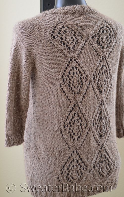Knit in fave yarn- Metalico by Blue Sky Alpacas. Not to mention SweaterBabe is awesome designer.