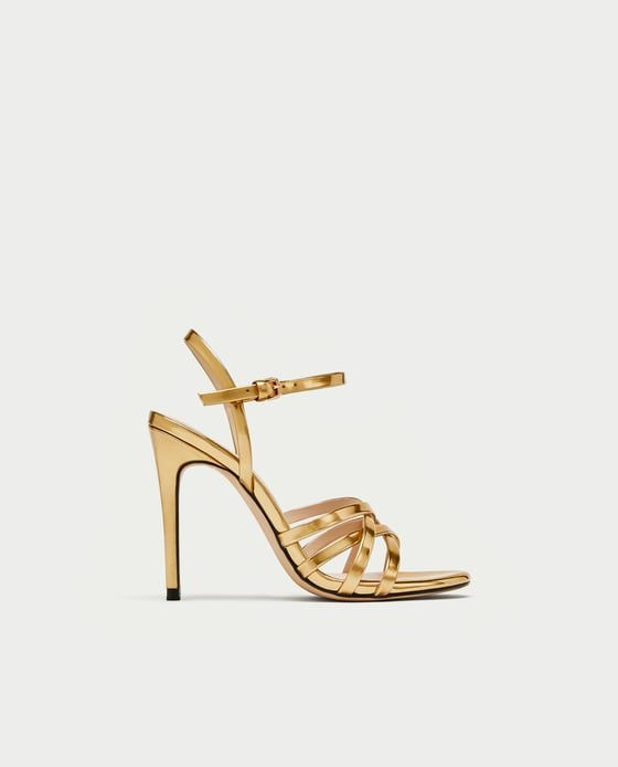 b397162bd7d49 Dressing for the Holidays -  Zara Laminated Strappy Sandals