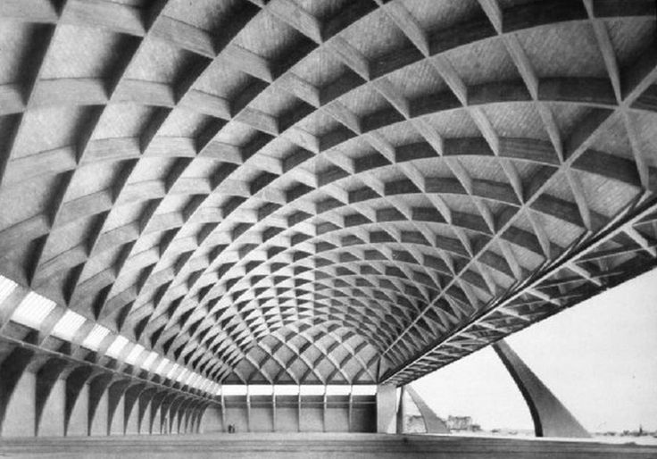 Pier Luigi Nervi: Orvieto Hangars in Orvieto, Terni, Umbria, Italy, completed in 1935 and later destroyed.    Structure: Reinforced concrete shell--ribbed barrel vault--airplane hangar.  Span: 44.8 m  Length: 111.5m