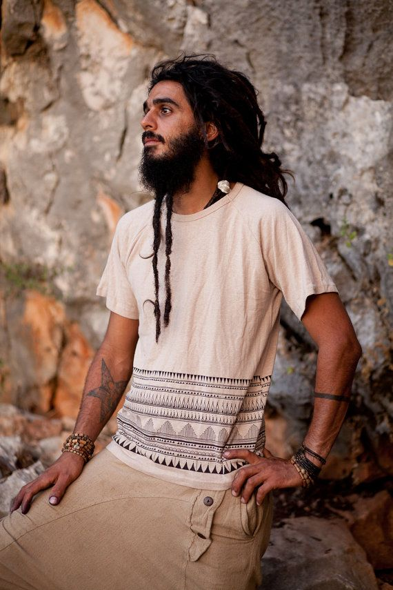 Hemp Cotton T-Shirt Natural Color by PrimitiveTribalCraft on Etsy