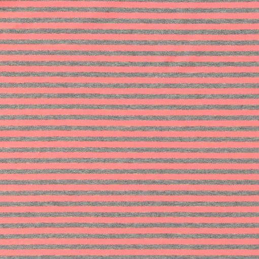 Jersey grey melange/coral 5 mm stripe