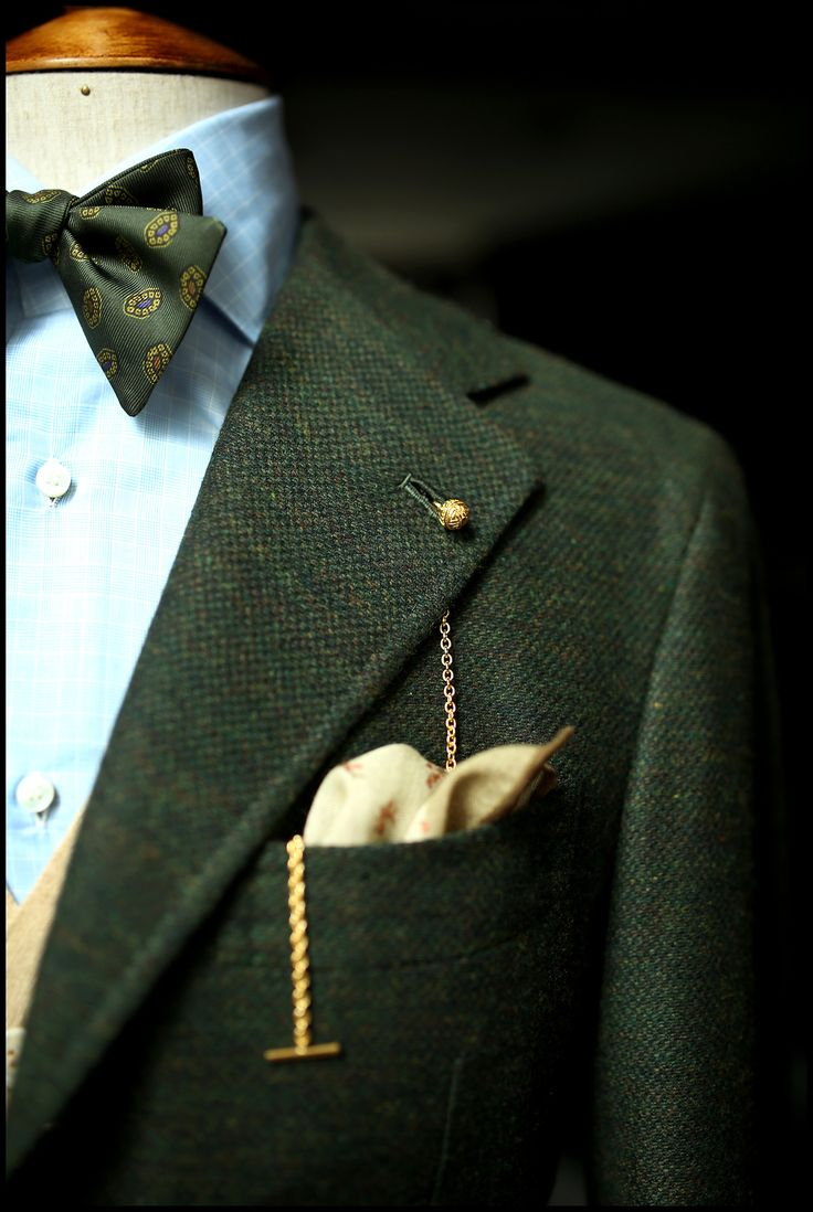 Green Orazio Luciano sport coat in Armoury cut.      featuring the gold Longevity lapel chain      Drake's bow tie      The Armoury camelhair waistcoat      Tieyourtie hank      Liverano shirt