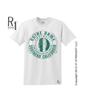 NOTRE DAME VS. USC football ticket shirt by ROW 1.™   http://www.notredamefootballgifts.com/ Notre Dame football gifts.