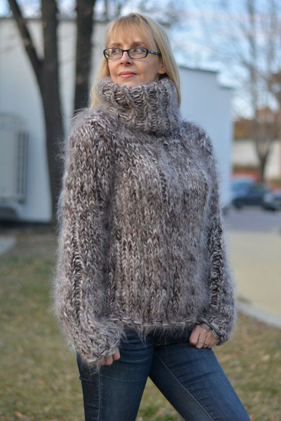 READY hand knitted chunky sweater mohair fuzzy Tneck by Dukyana