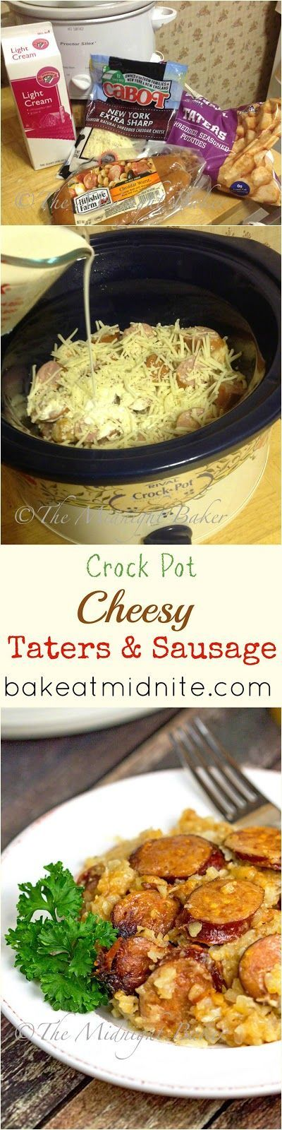 Crock Pot Cheesy Taters & Sausage | http://bakeatmidnite.com | #slowcooker…