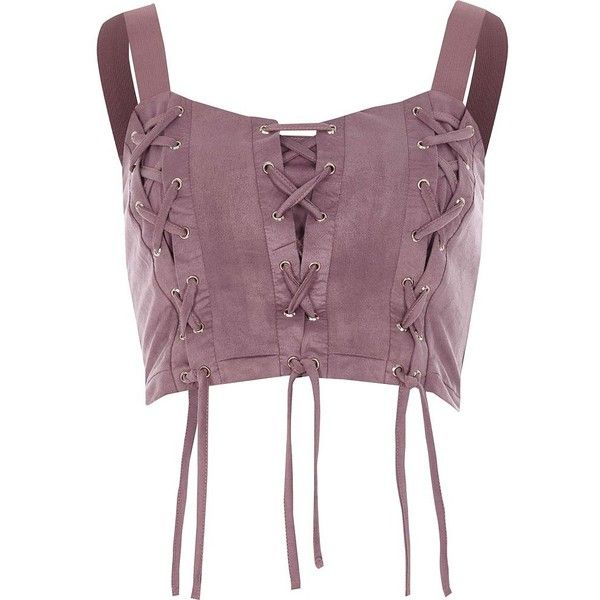 River Island Purple lace-up front crop top ($52) ❤ liked on Polyvore featuring tops, crop tops / bralets, purple, women, fitted tops, cut-out crop tops, lace up top, fitted crop top and cropped tops