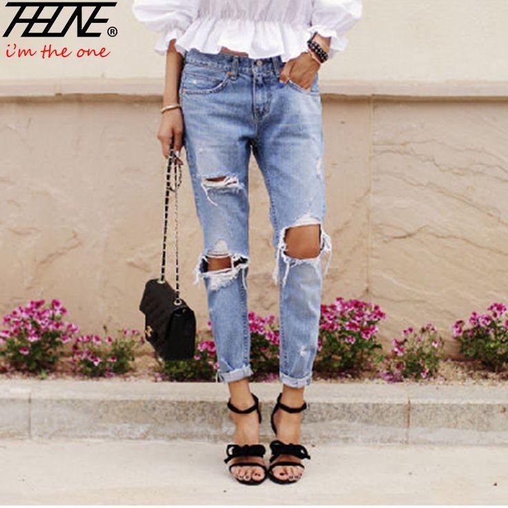 Autumn New Fashion Cotton Jeans Women Loose Low Waist Washed Vintage Big Hole Ripped Long Denim Pencil Pants