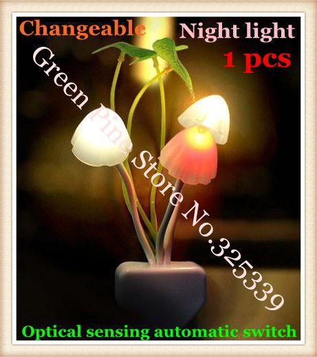 Бесплатная доставка 1 шт. световой сенсор plug ночные огни Гриб лампы привело изменчива лампы детские игрушки 220 В