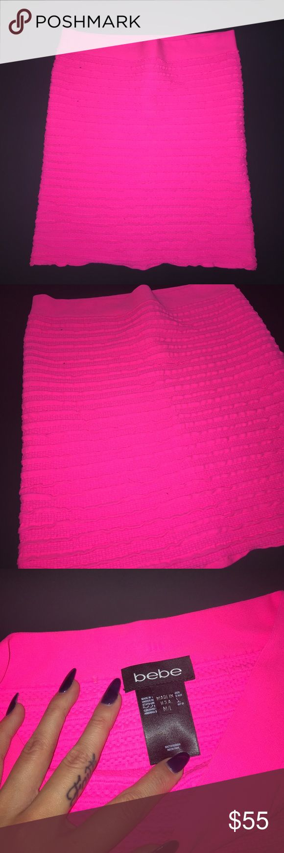 NEW! Bebe Hot Pink Stretch Skirt Brand new, without tags attached. Bebe hot pink stretchy fitted skirt. Fits a person in small well not overly tight but size is M/L bebe Skirts Mini