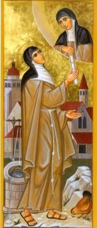 St. Colette Imges | St. Colette receives the Rule of Life from St. Clare