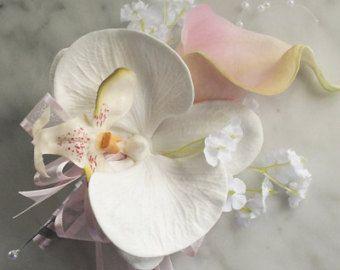 Ramillete de Novia de seda - Calla Lily y ramillete de flores de boda orquídeas en tus colores