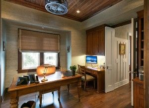 Practical Home Office Feels Neutral And Warm With Seagrass Wall Covering
