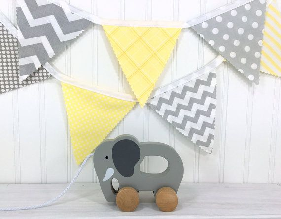 Fabric Banner Bunting Baby Nursery Decor Shower Light Yellow And Gray Dots Gender Neutral Pinterest
