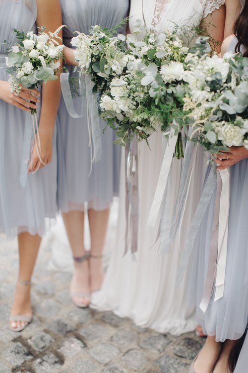 Styling by Jessica | Wedding flowers Cambridge London Essex | Countryside wedding, loose natural wild wedding flowers neutral green white dahlia foliages silk ribbon bridal bouquet blues greys bridesmaids dresses