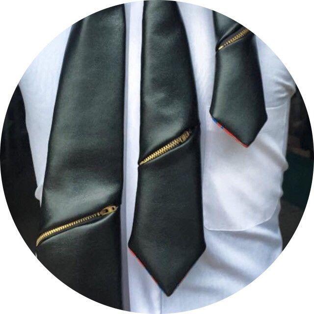Black Vinyl Zipper Tie
