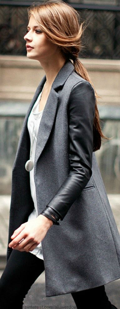 Street style | leather sleeve jacket