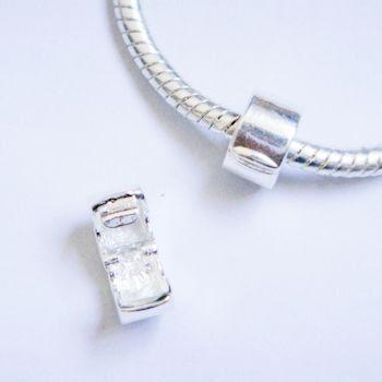 Silver Polish Clip Lock Stopper Bead Charms. Fits Troll, Biagi, Zable, Chamilia, And Pandora Style Charm Bracelets.
