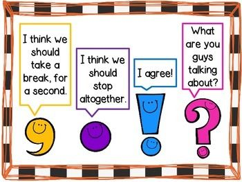 Fun punctuation anchor chart. Good for the classroom wall or to get students to paste in their English books.