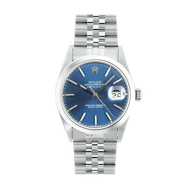 This beautiful Pre-owned Rolex Mens stainless steel Datejust features a stainless steel smooth bezel for a handsome and polished look.