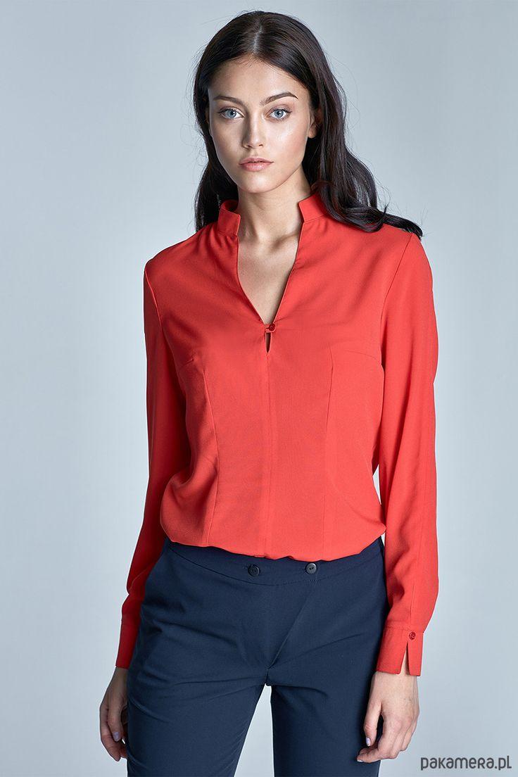 bluzki - inne-Bluzka z dekoltem w literę V b65 - pomarańcz